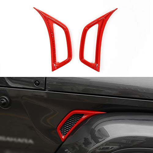 BORUIEN Red Car Wheel Eyebrow Side Air Conditioning Vent Outlet Decoration Cover Sticker for Jeep JL Wrangler 2018 Up ()