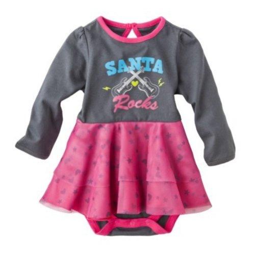 Cherokee Infant Girls Santa Rocks Christmas Dress Tulle Onesie Bodysuit 9m ()
