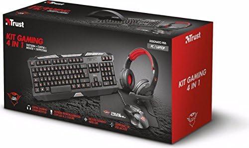 Trust PC Gaming Teclado + Ratón Gaming + auriculares Gaming 21917 Kit gaming 4 en 1