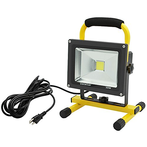 Ustellar 2400LM 30W LED Work Light (200W Equivalent), Waterproof LED Flood Lights, 16ft/5M Wire with Plug, Stand Industrial Working Light for Workshop, Construction Site, 6000K Daylight White