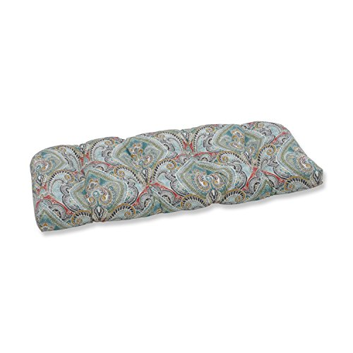 Pillow Perfect Outdoor | Indoor Pretty Witty Reef Wicker Loveseat Cushion, Blue, 44 X 19 X 5 (Furniture Reef)