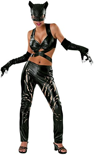 DC Comics Deluxe Adult Catwoman Costume, Black, Small]()