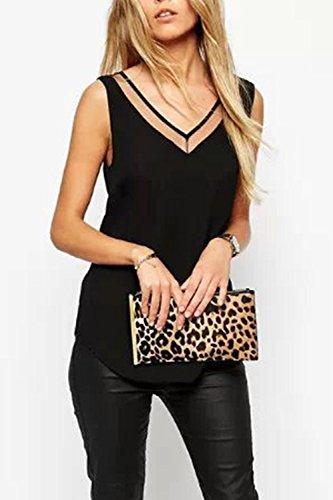 Top A Maniche Donna shirt Senza Smanicato Chiffon T In Scollo V Black fCUdxnxq