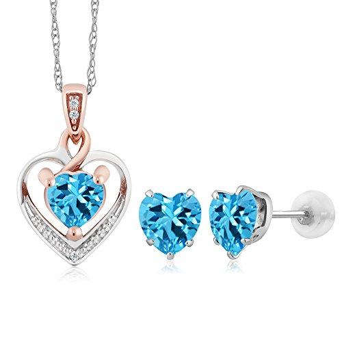 - Gem Stone King 10K White Gold Heart Shape Swiss Blue Topaz and Diamond Pendant Earrings Set