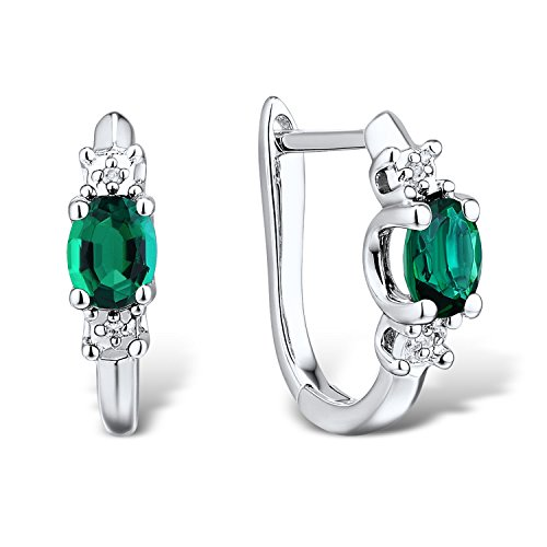 Lab-Created-Emerald-Huggie-Hoop-Earrings-in-Rhodium-Plated-Sterling-Silver-with-Diamond-accents