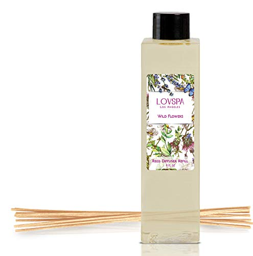 LOVSPA Wild Flowers Reed Diffuser Oil Refill with Replacement Reed Sticks   Floral Blend of Rose, Egyptian Jasmine, Sweet Pea, Lily of The Valley & Dark Amber, 4 oz