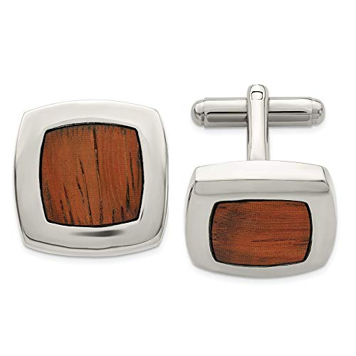ICE CARATS Stainless Steel Wood Inlay Cufflinks Man Cuff Link Fashion Jewelry Gift for Dad Mens for Him (Mens Rhodium Plated Ice Watch)