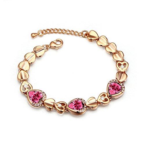 Platinum Decorative Heart Pan (Beydodo White Gold Plating Bracelet For Women (Link-Bracelets),Austria Crystal Love Heart Red CZ 16CM)