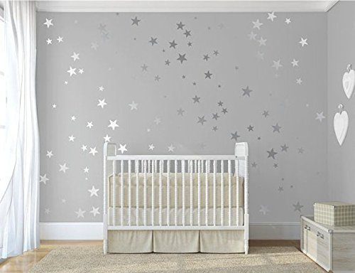 120 Silver Metallic Stars, Nursery Wall Stickers, Nursery Vinyl Wall Decals    Home Decor