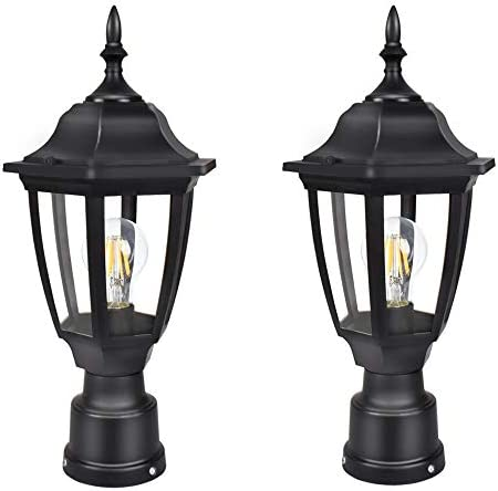 FUDESY 2-Pack Outdoor Post Light Pole Lantern Lighting Fixture with E26 Socket 3000K LED Edison Filament Bulb Included Corded-Electric , Anti Corrosion Plastic Materials, Black, FDS2543B