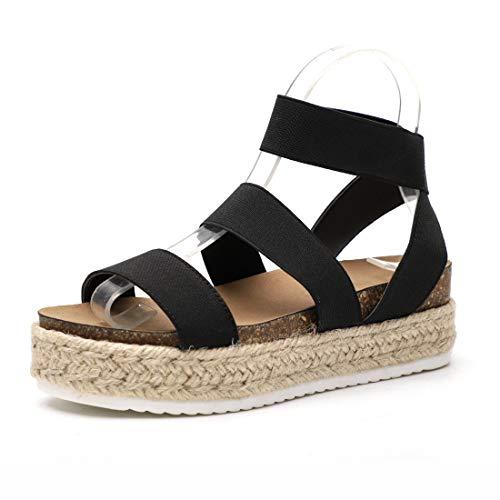 Women\'s Strappy Platform Sandals Open Toe Espadrille Sandal Elastic Strappy Adjustable Strap Platformed Sandals (Black,9 M US)