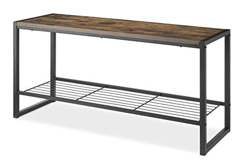 Whitmor Modern Industrial Entryway Bench w/Shoe Storage, Brown - Keeps shoes, purses, backpacks, and other on-the-go items neatly contained Constructed of high-quality materials to deliver an industrial look that is also suitable for sitting The engineered wood top that can hold up to 250 lbs. - entryway-furniture-decor, entryway-laundry-room, benches - 41FlPhergAL -