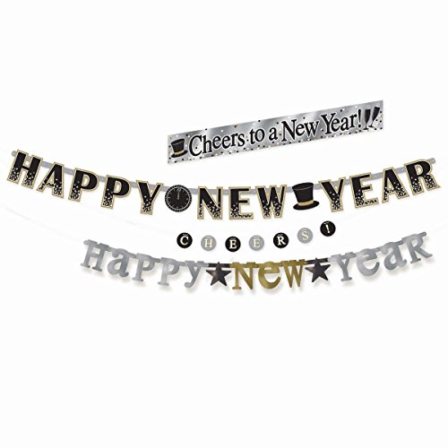 Foil Happy New Year Streamer - 4 in 1 Happy New Year Decoration Banner Set