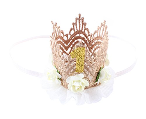 Sweetheart Headpiece (Infant Baby 1st Birthday Headwear Hair Accessories Lace Flowers Boho Headband Tiara Hair Wreath Bridal Princess Hairband Bouquest Headpiece with Comb Beige)