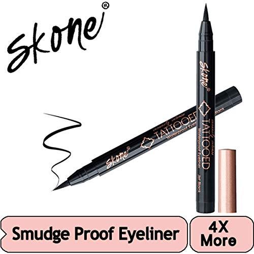 Skone Insanely Intense Tattooed Liquid Eyeliner - Waterproof Longlasting Smudge Proof - Get 4X More (Jet Black Eyeliner)