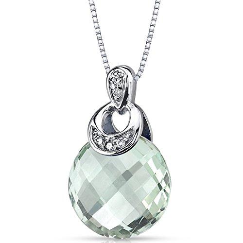 Green Amethyst Diamond Necklace - 14 Karat White Gold 3.50 Carats Checkerboard Cut Green Amethyst Diamond Pendant