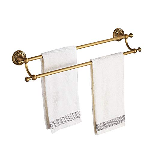 Rozin Antique Brass Double Towel Bars Wall Mounted Towel Rack Art Carved Deco ()