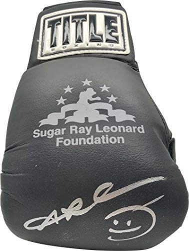 Sugar Ray Leonard Autographed Signed TITLE Boxing Glove Beckett BAS
