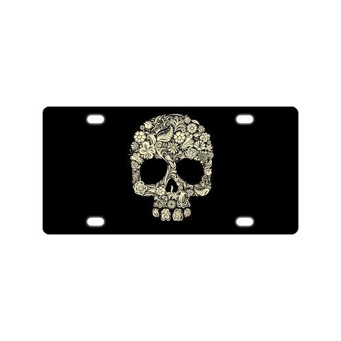 Hot Sale Abstract Floral Flower Sugar Skull Durable And Strong Aluminum Car License Plate 12