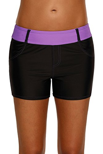 EVALESS Womens Summer Sports Bottom Swim Beach Boyshorts Swimming Panty Large Purple