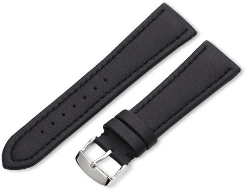 Hadley-Roma Men's MSM739RA 240 24-mm Black Genuine 'Lorica' Leather Watch Strap