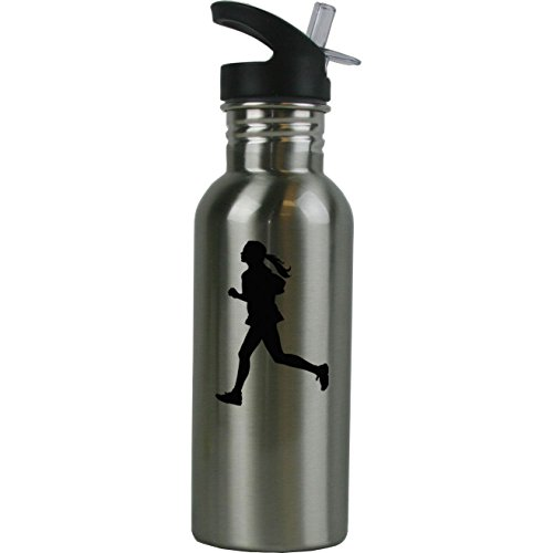 (Personalized Custom Female Runner Stainless Steel Water Bottle with Straw Top 20 Ounce Sport Water Bottle Customizable)