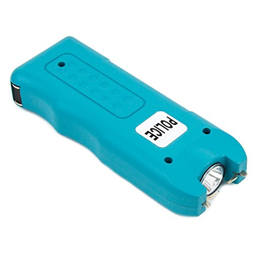 POLICE 628-58 Billion Mini Stun Gun - Rechargeable with Siren Alarm LED Flashlight, Blue