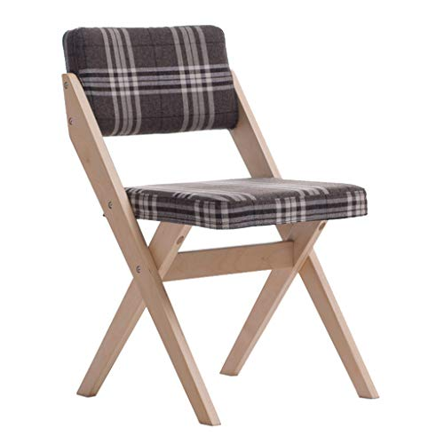 Folding Chair Solid Wood Back Support Furniture Desk Dining Chair Leisure Discussion Reception Chair - Lattice Cushion Dining Stools for Office Lounge Dining Kitchen ()