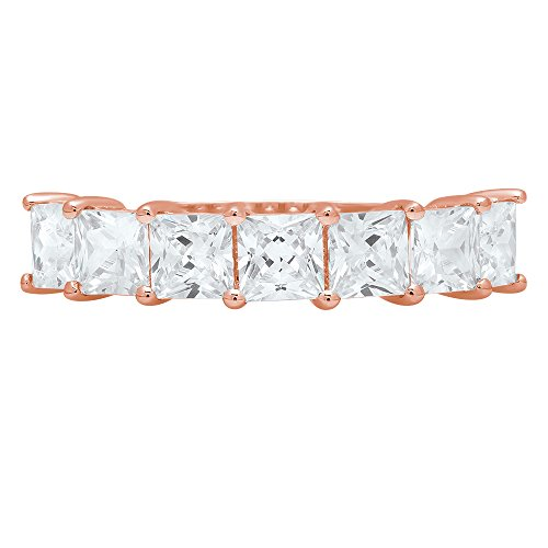 1.85ct Brilliant Princess Cut Simulated Diamond Solitaire Infinity Petite Stacking Statement Band in 14K Solid Rose Gold for Women, 3.75 by Clara Pucci (Image #3)