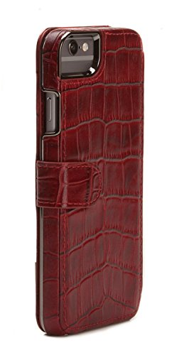 Sena Genuine Leather Wallet Book Classic Case for Iphone 6 Plus / 6s Plus (5.5 -Inch) Croco Red