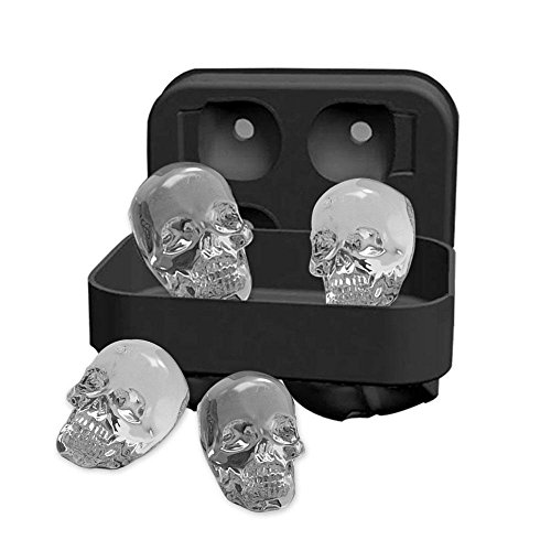 Pawaca 3D Skull Ice Cube Tray Mold, Makes Four Giant Skulls, Food Grade Flexible Silicone Ice Cube Maker in Shapes for Whiskey Ice and (Skull Shapes)