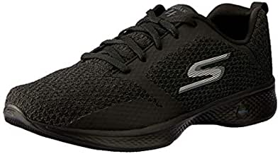 Skechers Women's GO Walk 4 - Desire Walking Shoe, Black/Black, 5 US