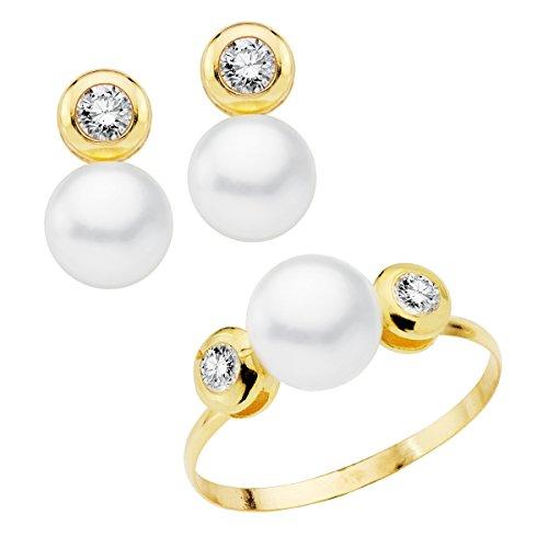 Conjunto niña mujer oro amarillo 18ktes 1ª comunión anillo y pendientes perlas y chatón