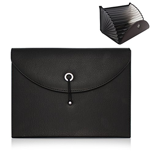 Portable Accordion File Folder Document Wallet Briefcase PU Leather Business File Organizer Bag A4 and Letter Size 13 Pockets (Black) (Oak File Holder)