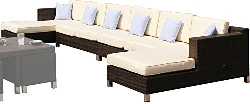 Dreams4Home Lounge Juego Hanka – Conjunto, muebles, muebles de jardín, Recamiere, Jardín sofá, muebles, Jardín, sofá, B/H/T: 467 x 69 x 160 cm, aluminio – Fregadero, ratán trenzado – En Color Marrón: Amazon.es: Jardín