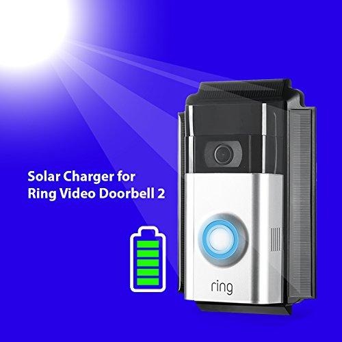 Wasserstein 0.2 Watt Solar Charger Mount Compatible with Ring Video Doorbell 2, Weatherproof (Black)