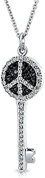 Bling Jewelry CZ Simulated Onyx Peace Sign Key Pendant