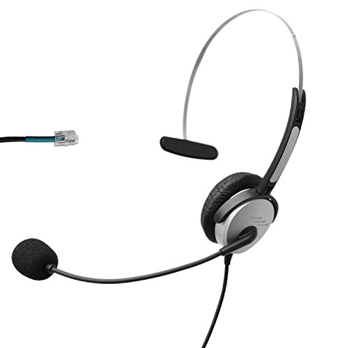 Voistek A2H10DHS Mono Call Center Telephone Headset with Noise Canceling Microphone for Nortel Nec Mitel Aastra Siemens GE 3Com Toshiba InterTel Sprint Talkswitch ShoreTel Iwatsu Packet8 ESI Allworx Office IP Phones