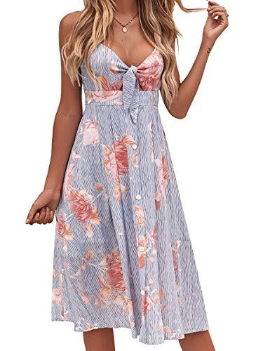 FANCYINN Womens Floral Prints Tie Front Button Down Spaghetti Strap Midi Dress Blue L