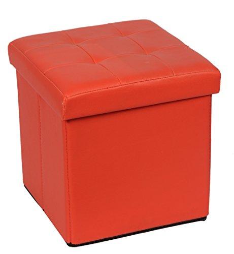Fsobellaleo Faux Leather Folding Storage Ottoman Toy Chest for Baby Orange12.6