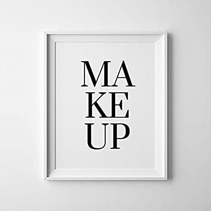 Amazon com: Black and White Simple Makeup Typography Print