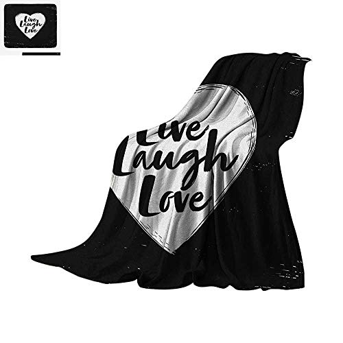 """Live Laugh Love Throw Blanket Illustration of a Grunge Inspired Heart and a Quote on Black Background Print Artwork Image 90""""x70"""" Black White"""