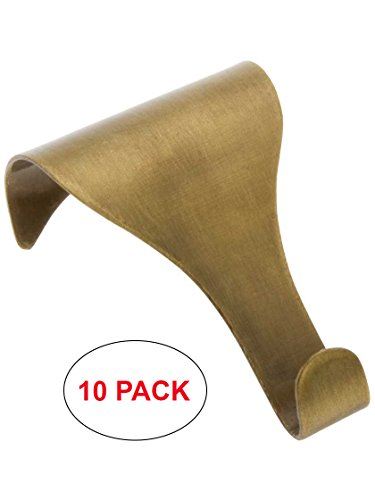 House of Antique Hardware R-010MG-5621-AB-10 Plain Tapered Picture Rail Hooks in Antique Brass (10 Pack)