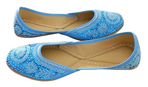 KALRA Creations Damen Traditionelle indische Leder Party Schuhe Himmelblau/Blau
