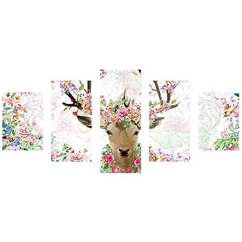 - Freeby Large DIY 5D Diamond Painting Kit, Wall Art 5 Panels Full Drill Antlers Embroidery Rhinestone Cross Stitch Arts Craft Supply for Home Wall Decor (C)