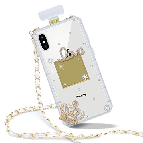 Goodaa for iPhone X/XS Case, Diamond Perfume Bottle Case,Luxury Elegant Diamond Perfume Bottle Crystal Rhinestone Crown Cover Case for iPhone X/XS Case with Free String(White)