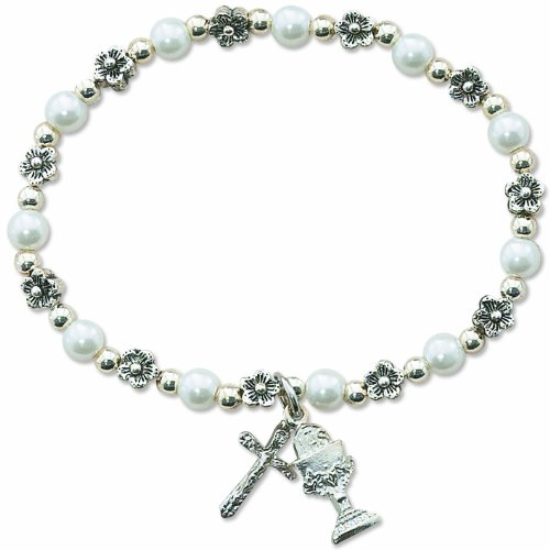 MM 2593-2 FIRST COMMUNION DLX WHT PEARL STRETCH BRACELET