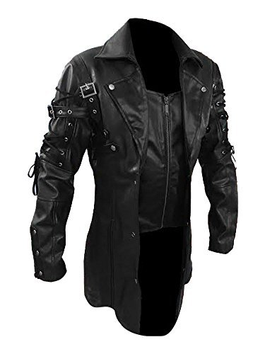 Men's PU Leather Gothic Steampunk Matrix Trench Coat (M, Black)