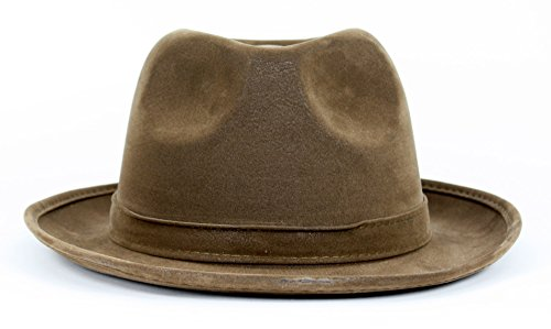Largemouth Gangster Style Faux Leather Fedora Hat (Brown)