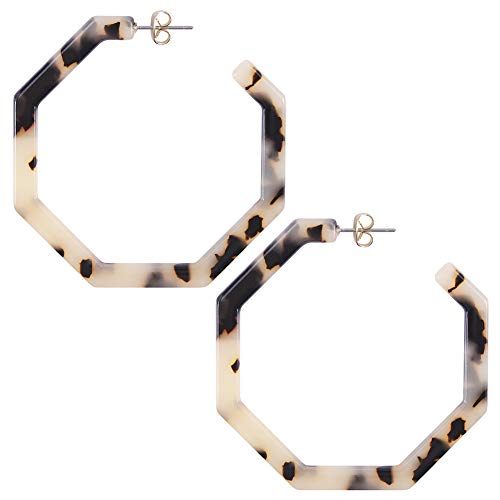 Bohemian Statement Drop Stud Earrings Hoop for Women Fashion Acrylic Resin Leopard Print Hoop -